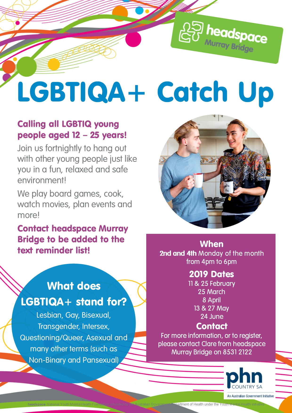 LGBTIQA+ Catch Up is back for 2019!!