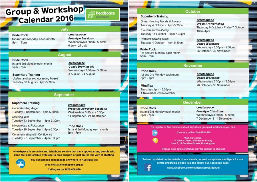 Groups & Workshop Calendar 2016